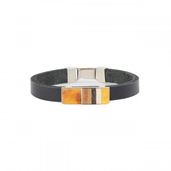 Armband aus Bernstein , Holz und silber . Amberwood Marta Wlodarska